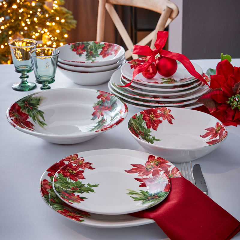 Assiettes creuses  « Poinsettia » spectaculaires Photo 2