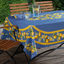 Nappe rectangulaire : linge de table agrumes